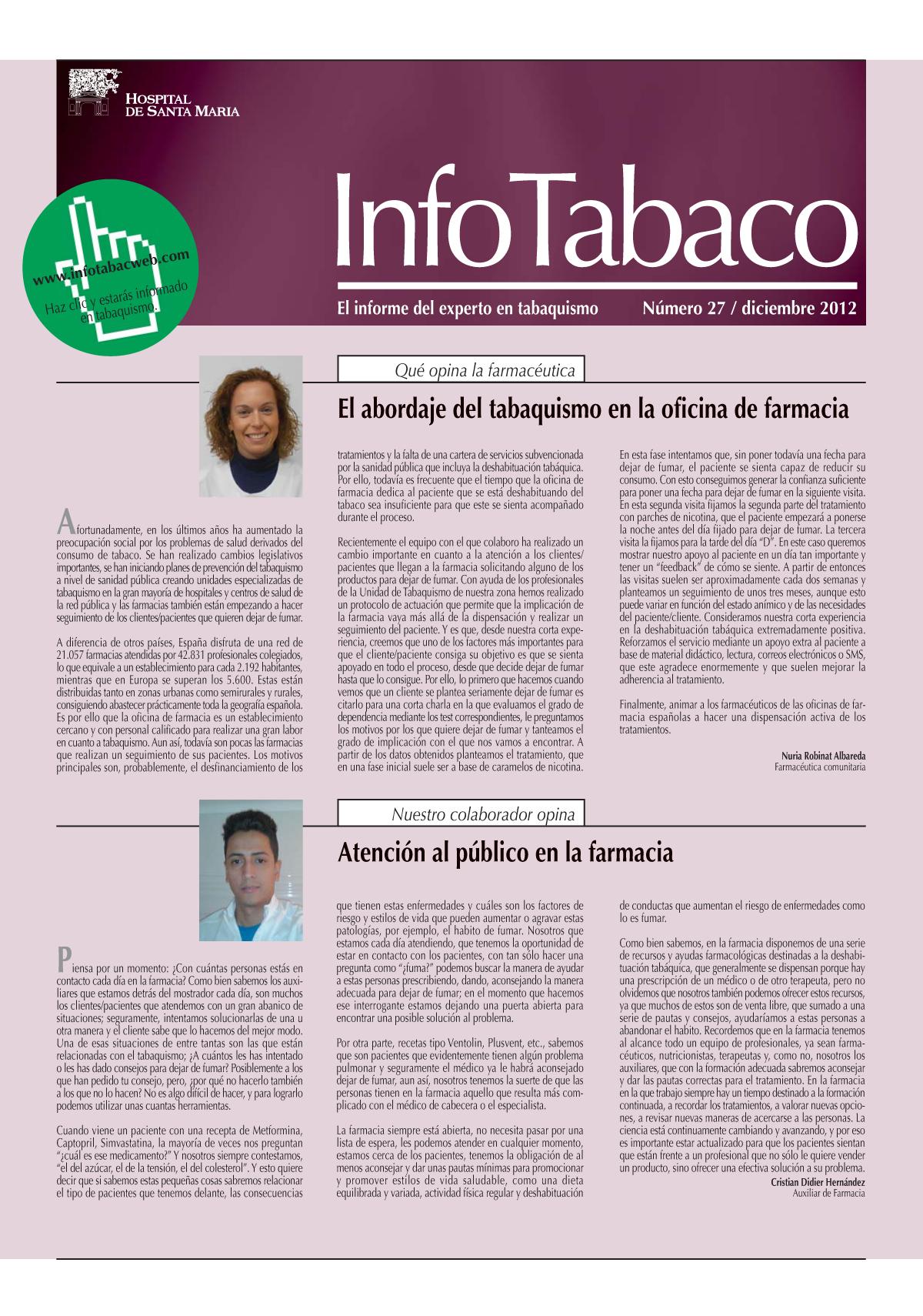Info Tabaco nº27 - Diciembre 2012